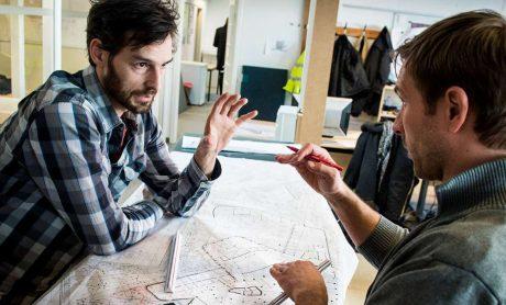 Fagbevægelsens Hovedorganisation, Byggekonstruktører arbejder ved tegnebordet, Ludvigsen