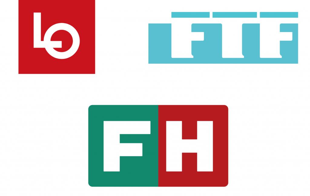 LO, FTF og FH logo : Fusionen mellem LO og FTF til FH: Fagbevægelsens Hovedorganisaton